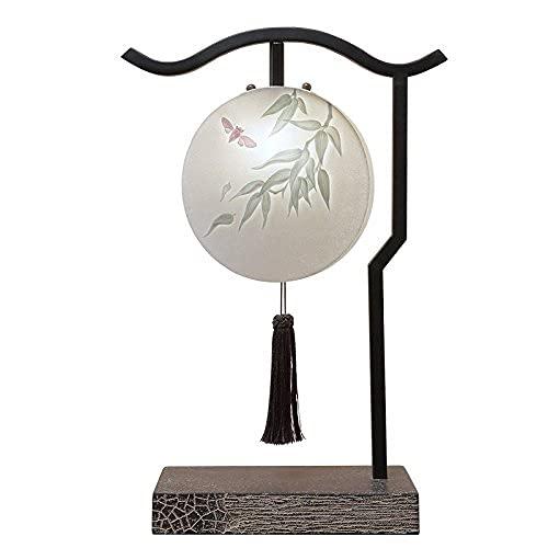 Vinteen Lámpara de mesa de hierro artística, lámpara de mesita de noche, dormitorio, luces acogedoras y cálidas, estilo chino, decoración, creativa, personalidad, lámpara de escritorio
