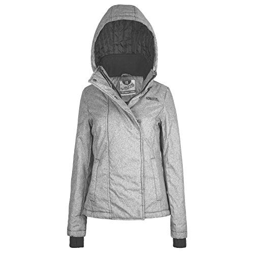 Sublevel Damen Winterjacke mit abnehmbarer Kapuze & Daumenloch | Gut gefütterte Jacke im Sportlichen Look middle-grey M