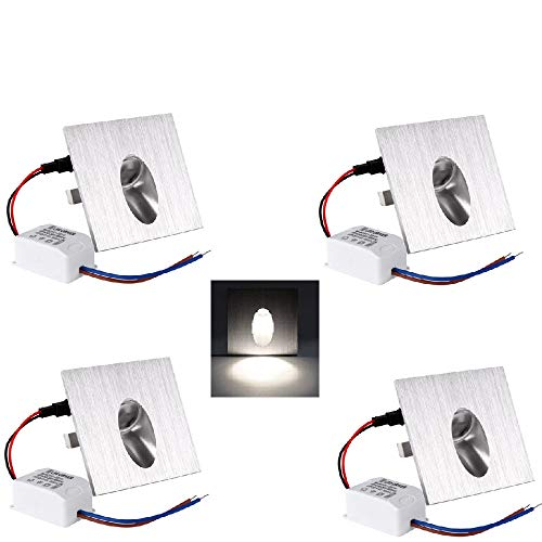 OLEEP LED Lámpara de pared Focos empotrables luz de escalera Iluminación de Pasos, Cuadrada, 8x8cm, 230V, 1W, Blanco Fresco, 4 PCS