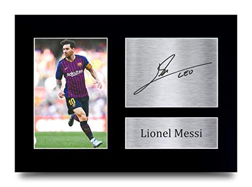 HWC Trading Lionel Messi A4 Ungerahmt Signiert Gedruckt Autogramme Bild Druck-Fotoanzeige Geschenk Für Barcelona Fußball Fans