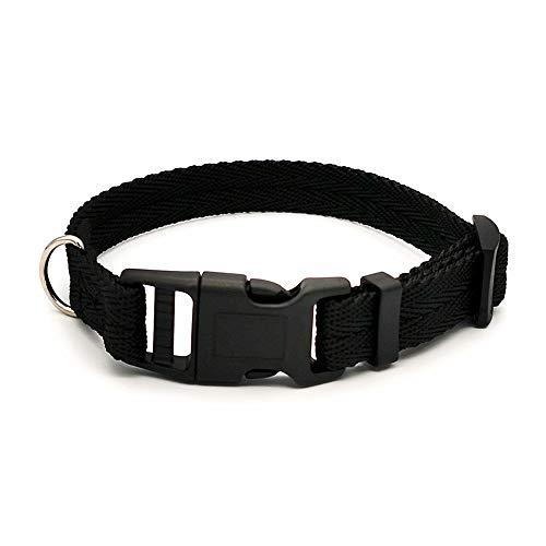 Moonpet Collar de perro de nailon, resistente, ajustable y duradero, para perros de razas pequeñas, medianas y grandes, color negro, M
