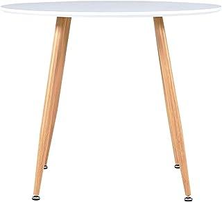 Festnight Table Cuisine Ronde Table de Salle à Manger Blanc et chêne 90x73,5 cm MDF