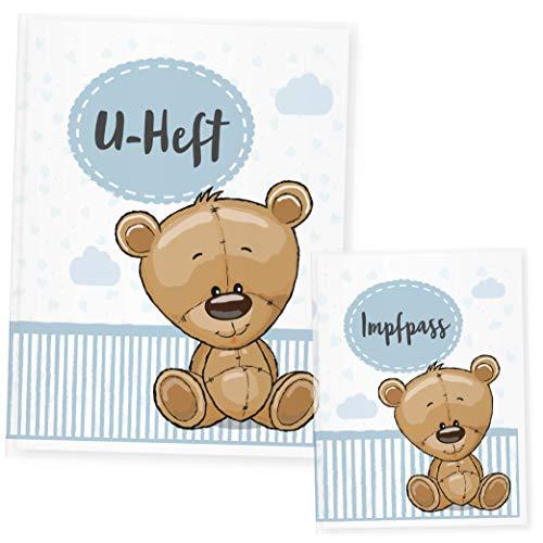 U Heft Hülle Tiere, Uheft Hülle & Impfpass Hülle Set, Ideales Geschenk zur Geburt (Uheft Set, Bär)