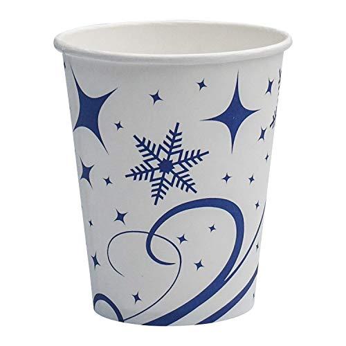 1-PACK Vasos de Cartón to Go Vasos desechables Diseño Invierno Copos de nieve 200 ml, 150 unidades