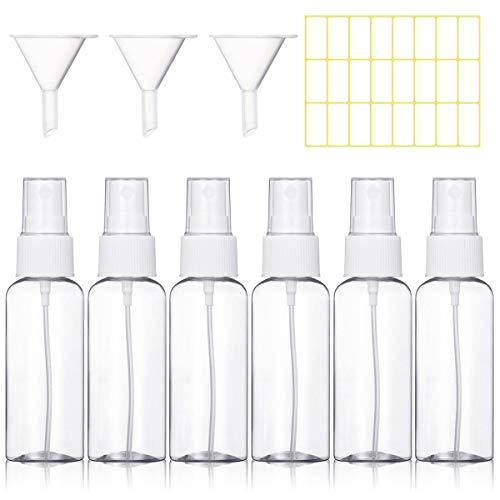 6 Piezas 50ml Bote Spray Botellas Vacía de Plástico Atomizadores Transparentes Contenedor de Pulverizador, Blanco