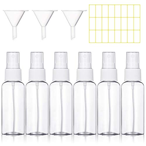 Bottiglie Spray Vuoto Trasparente Flacone Spray Plastic Fine Nebbia Bottiglia Set da Viaggio (6 x 50ml-bianca)