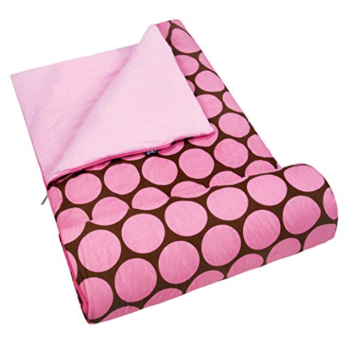 Wildkin Kids Sleeping Bags for Boys and Girls, Perfect Size for Parties, Camping, and Overnight Travel, Cotton Blend Materials Sleeping Bag, Measures 66 x 30 x 1.5 Inches, BPA-free (Big Dot Pink)