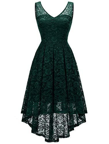 MODECRUSH Damen Cocktailkleid Abendkleider Brautjungfernkleider Knielang Kurz Kleid mit Spitze Grün L