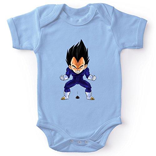 Okiwoki Body bébé Manches Courtes Garçon Bleu Parodie Dragon Ball Z - DBZ - Végéta - Super Caca Vol.2(Body bébé de qualité supérieure de Taille 3 Mois - imprimé en France)