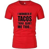 JiaMeng-ZI Camiseta para Hombre Slim Fit Manga Corta T-Shirt Cuello Redondo Verano Casual Ropa Online Suave Cómodo Sudaderas Ligeros Transpirables Sweatshirts Color Múltiple Letra Impresa