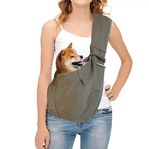 ペットスリング 抱っこひも ペットキャリーバッグ ショルダーバッグ 犬 猫 ねこ いぬ 用品 飛び出し防止 小型犬 猫用 斜めショルダーバッグ 小型ペット用品 通気性抜群 耐久性抜群 10kg以内のペット (カーキ)