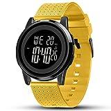 YUINK Mens Watch Ultra-Thin Digital Sports Watch Waterproof Stainless Steel Fashion Wrist Watch for Men Women (Yellow)