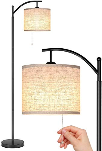 JOOFO Floor Lamp, Living Room Floor Lamp, Standing Lamp with Hanging Lampshade, 9W LED Light Bulb and 3 Color Temperatures Floor Lamp for Living Room, Bedrooms, Black