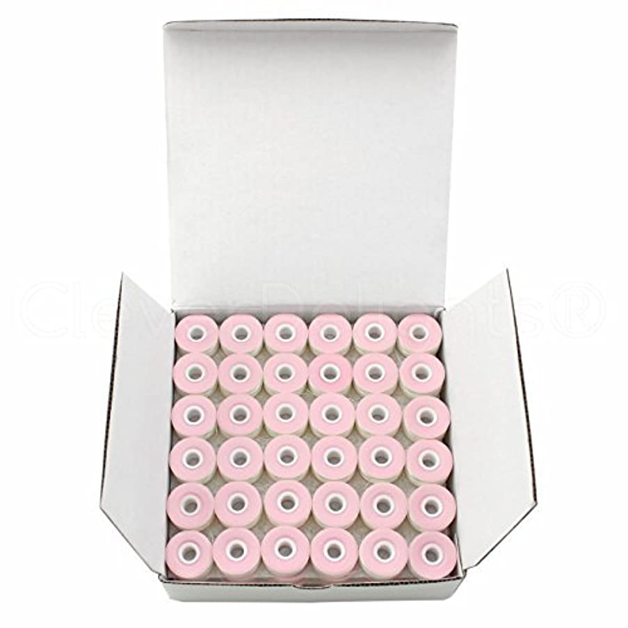 36 Pack - CleverDelights White Prewound Bobbins - Cardboard Sided - Size L Bobbins - 3/8