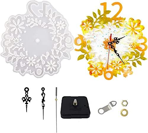 Moldes de Resina de Reloj Flor de Resina de Silicona Números árabes Números de Resina Molde de Silicona epoxi Resina DIY Hand Crafts Kits de Reloj para Hacer numerales Molde de joyería de Reloj