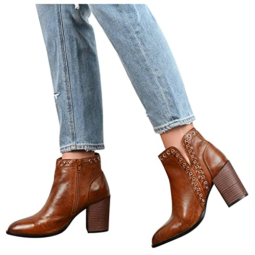 HLENLO Women's Zipper Block Heel Booties, Non-Slip Solid Color Ankle Leather Combat Square Heels Shoes Retro Short Booties Brown