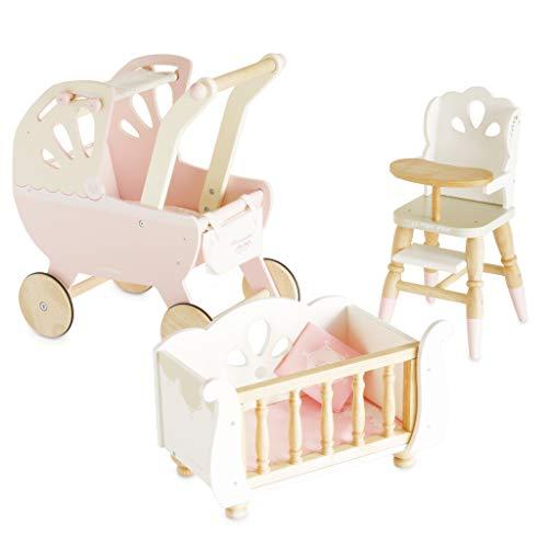Le Toy Van TV599 Conjunto de juegos de bebé para muñecas Honeybake, silla alta y cochecito