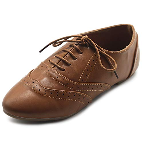 Ollio Women's Shoes Classic Lace Up Dress Low Flats Heels Oxfords M1914(10 B(M) US, Brown)