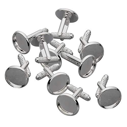 Baoblaze 10 Stück Manschettenknöpfe Rohlinge Fassungen Schmuck für 12 mm Cabochons Silber
