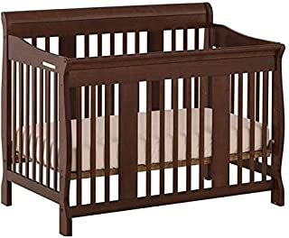 Pemberly Row 4-in-1 Convertible Crib in Espresso - Easily Converts to Toddler Bed, Day Bed or Full Bed, 3 Position Adjustable Height Mattress