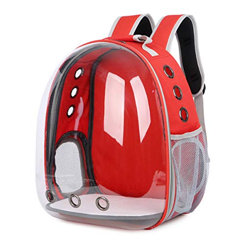 Doubleblack Pet Carrier Transparent Backpack Portable Dogs and Cats Outdoor Carrying Bag Breathable Capsule Design 180 Degree Sightseeing for Pets Travelling, Walking 40 * 20 * 30 CM - Red