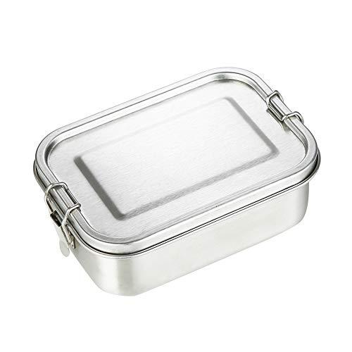 QUUY 800ml Brotdose 304 Edelstahl Bento Box für Kinder und Erwachsene, Ohne Plastik & BPA, Metall Auslaufsichere Lunchbox mit Silikondichtring und Verriegelungsclips für Schulspeisung und Snacks