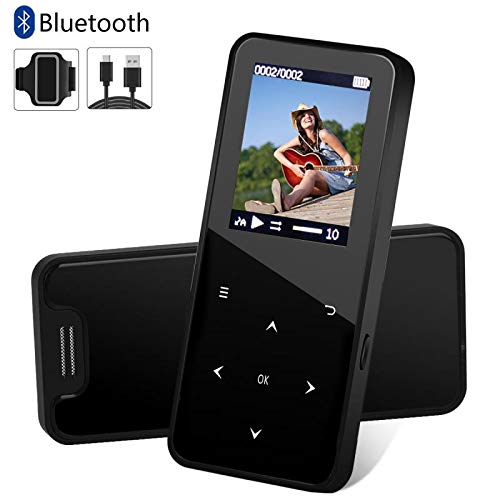 MP3 Player, MP3 Player with Bluetooth, 8GB Music Player with FM Radio, Pedometer for Walking, Build in Speaker,Voice Recorder,Video Play,Photo Viewer,E-Book,Touch Button and Armband,Support up to 32GB