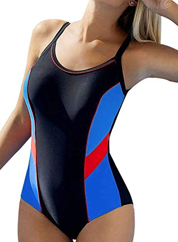 Aleumdr Women's One Piece Swimsuits for Women Bathing Suits Athletic Training Womens Swimsuits Swimwear Racerback Powder Stripe Stitching Black