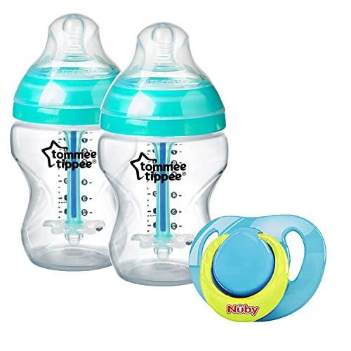 Chupete de ortodoncia con 260 ml anticólico juego de botellas de alimentación, chupete de silicona en color azul amarillo, sin BPA, tetinas de flujo lento para bebés recién nacidos de 0 meses