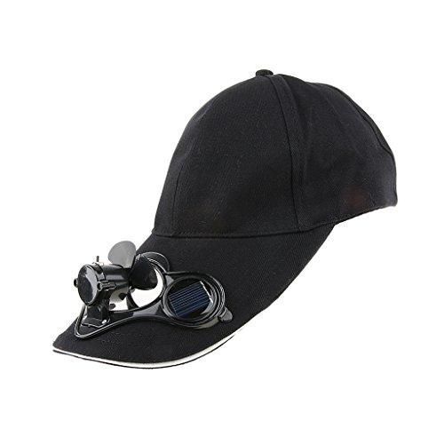 D DOLITY Sport Basecap Outdoor Baseball Kappe Mütze mit Solarbetriebener Lüfter - Schwarz