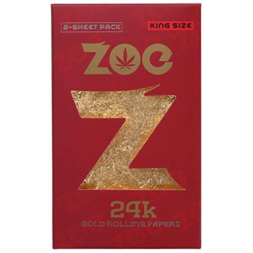 24k Gold Cigarette Rolling Paper (King Size, 2 Sheet Pack/Red Black Packing)
