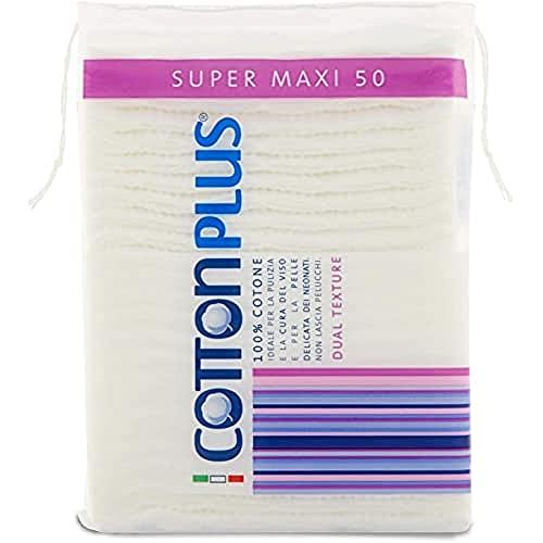 Cotton Plus Super Maxi 50 Paquet de 50 cotons, idéal pour se démaquiller