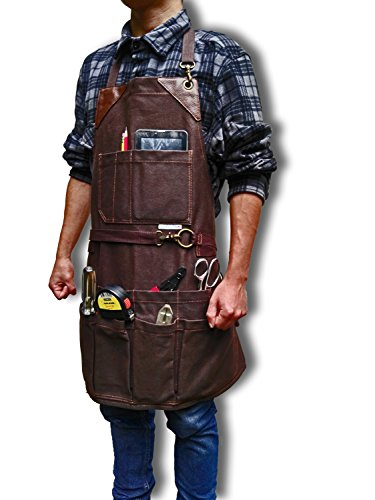 BEST CHOICE Heavy Duty Waterproof All-Purpose Apron - Workshop Waxed Canvas - 11x Pockets & 2 Shackles for Accessories & Tools - Totally Adjustable Neck and Waist Strap - Size S-XXL for Men & Women.