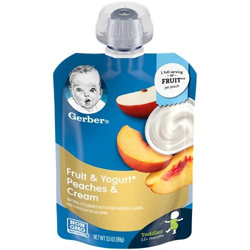 Gerber Purees Peaches & Cream Yogurt Toddler Pouch, 3.5 Ounces (Pack of 12)