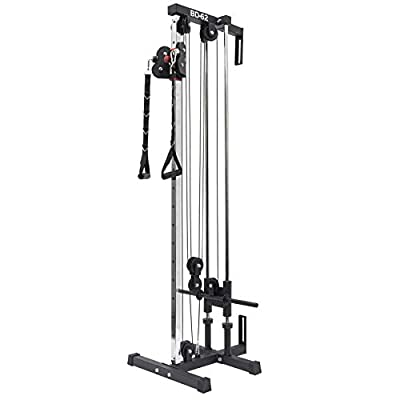 Valor Fitness BD-62 Wall Mount Cable Station with Adjustable Dual Pulley System and Strap Handles for Functional Home Gym with Bundle Option