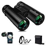BFULL 10x42 Compact Binoculars for Adults, Powerful Binoculars with 21mm Large View Eyepiece, BAK4 Prism FMC Lens, Clear Weak Light Night Vision, Binoculars for Bird Watching Hunting - Waterproof