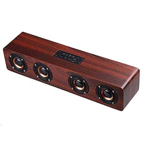 QCHEA Bluetooth Altavoz inalámbrico portátil de Madera, 4 x 3W Cuerno Interior y Exterior de Barra de Sonido, micrófono Incorporado, Altavoz for PC/Telefonía/Tablets