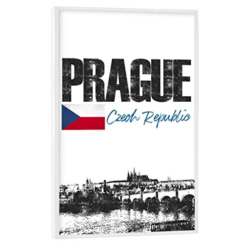 artboxONE Poster mit weißem Rahmen 75x50 cm Städte Prag Skyline minimalistisch - Bild Tschechien Flagge prag