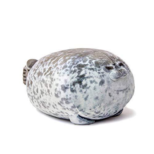 Boven Cute Blob Seal Pillow Chubby Soft Hug Cotton Anima Seal Stuffed Plush Toy (White,S)
