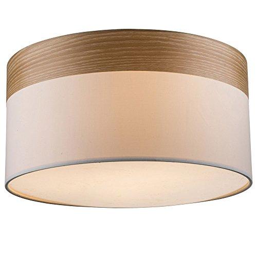 Preisvergleich Produktbild Design Decken Lampe Wohnraum Stoff Schirm Leuchte Holz Strahler beige Globo 15221D
