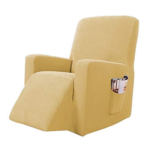 Jubang Funda para sillón, funda para sillón, funda suave, antideslizante para sillón de relax completo, funda elástica para sillón de televisión, sillón de recliner, sillón mecedora, color amarillo