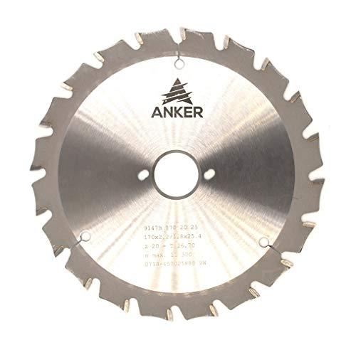 ANKER Spezial Hartmetall Holz und Metallkreissägeblatt Ø 170 x 25,4mm 20 Zähne | Zahnstellung Wechselzahn mit Fase| Passend für Bepo FFS171SE