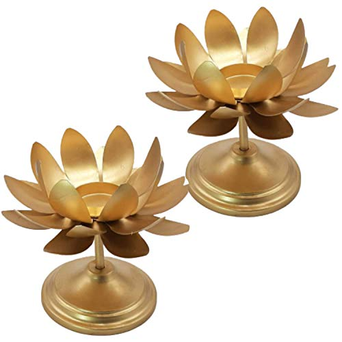 India Meets India Brass Large Lotus Tealight Candle Stand, Tea Light Holder with 2 Inch Tea Lights for Diwali Decoration Handicraft (Set of 2)