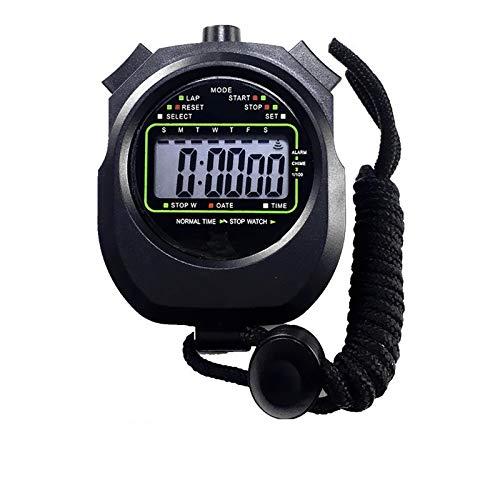 ZoSiP Digital Sport Stoppuhr Timer 2 Stück Sport-wasserdichte Digitale Stoppuhr for Trainings-Schwimmen Jogging Fitness Basketball (Color : Black, Size : 8.2x6.0x2.2cm)