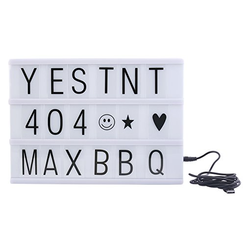 Mirah June Cinema Lightbox Cinematic Light Box with 90 Letters Free Combination for Wedding, Home, Photoshoots, Birthday Party