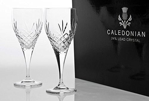 Caledonian volledig gesneden paar van 24% lood kristal rode wijn bekers in presentatie doos