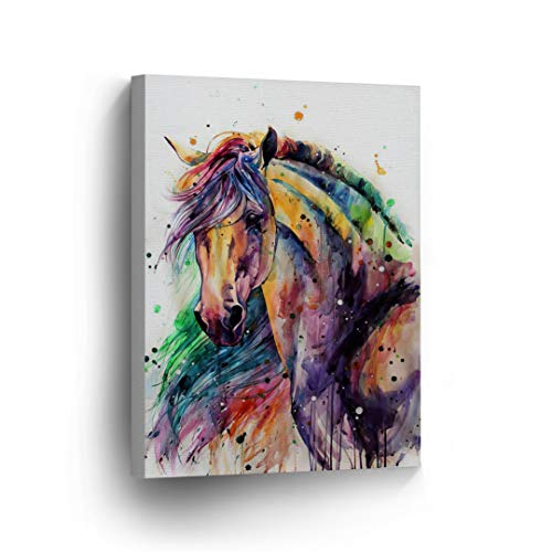 Horse Watercolor Painting Colorful Rainbow Portrait Canvas Print Decorative Art Wall Décor Artwork Wrapped Wood Stretcher Bars - Ready to Hang -%100 Handmade in The USA - 12x8