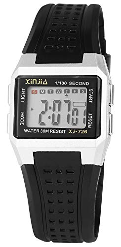 XINJIA - Reloj Digital de Pulsera para Mujer, Color Plateado y Negro, con Caja de Cuarzo y Silicona, para niños, con Alarma, luz y cronómetro