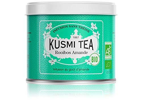 Kusmi Tea Bio Rooibos Mandel - Loser Kräutertee mit natürlichem Mandelaroma - Süßer und Cremiger Rooibos Tee Aufguss - Koffeinfrei - 100 g Metall Teedose
