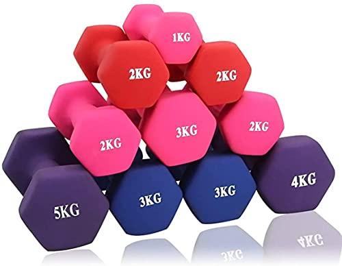 ダンベル【2個セット1kg 2kg 3kg 4kg 5kg 6kg 8kg10kg】【 選べる4色】筋トレ ダイエット 鉄アレイ ソフトコーティング (4kg×2個/赤)